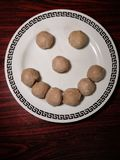 Smiley from meatball. The food make us happy. Copy space. royalty free stock photography