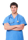 Smiley medical doctor in blue uniform Stock Images