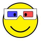 Smiley met 3D glazen Royalty-vrije Stock Afbeeldingen