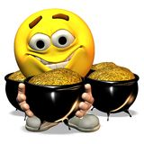 Smiley met Goud Stock Afbeelding