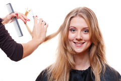 Smiley model in hairdressing salon Royalty Free Stock Photo