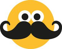Smiley with mustache. Face beard vector stock illustration