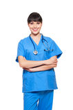 Smiley nurse. Portrait of confident smiley nurse. isolated on white background Royalty Free Stock Image