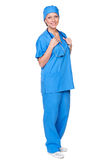 Smiley nurse with stethoscope Royalty Free Stock Photo