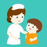Smiley nurse talk to boy  Stock Images