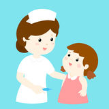 Smiley nurse talk to girl  Stock Images