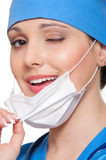 Smiley nurse is winking Royalty Free Stock Photos