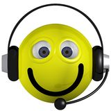 Smiley Operator. Adorable smiley wearing a headset isolated on white royalty free illustration