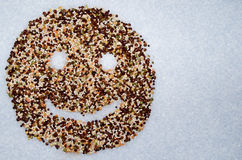 Smiley Organic cereals legumes Stock Photos