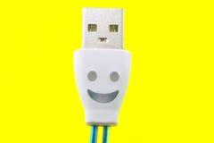 Smiley på telefonkabeln Arkivfoton