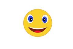 Smiley på vit symbolsguling Royaltyfria Bilder