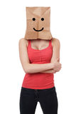 Smiley paper bag woman Royalty Free Stock Image
