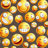 Smiley pattern vector background with continuous or seamless happy facial expressions. Of yellow smileys in brown background. Vector illustration Royalty Free Stock Photo