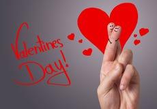 Smiley peint de doigt, le jour de valentine Image libre de droits