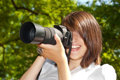 Smiley photographer Stock Photos