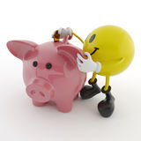 Smiley and piggy bank Royalty Free Stock Images