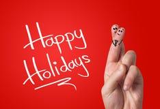Smiley pintado del dedo, día de tarjeta del día de San Valentín Foto de archivo libre de regalías