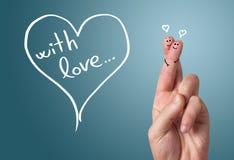 Smiley pintado do dedo, o dia de Valentim Imagens de Stock Royalty Free