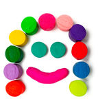 Smiley plasticine face. Over white background royalty free stock photo