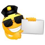 Smiley Policeman som rymmer ett vitt bräde royaltyfri illustrationer