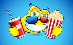 Smiley with Pop Corn and 3d Goggles Stock Photo