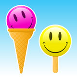 Smiley popsicle / ice cream Royalty Free Stock Photos