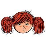 Smiley principal rojo de la muchacha Imagenes de archivo