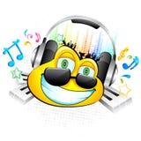 Smiley que aprecia a música ilustração do vetor
