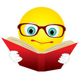 Smiley read book. Smiley-ball in glasses read red book,  illustration additional Royalty Free Stock Images