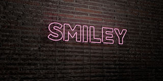 SMILEY -Realistic Neon Sign on Brick Wall background - 3D rendered royalty free stock image Royalty Free Stock Images