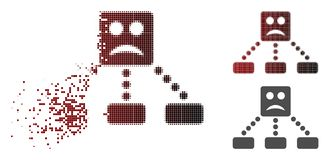Smiley Relations Diagram Icon triste tramé pointillé réduit en fragments illustration stock