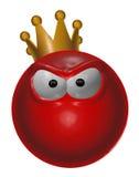 Smiley rojo malvado del rey - ejemplo 3d Imagen de archivo