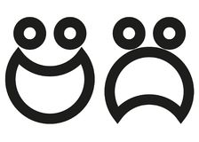 Smiley and sad face of an animated character. Vector Format AI Stock Images