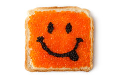 Smiley sandwich with caviar. Placed on white background Stock Photo
