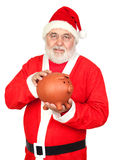 Smiley Santa Claus with piggy-bank Stock Photos