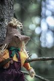 Smiley scarecrow portrait on a tree branch. Close-up with a scarecrow, left hanging between two tree branches, without leaves, in the dark woods. A concept for royalty free stock photography