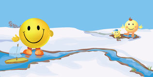Smiley seasons. February Stock Photo