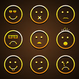 Smiley set with different expressions. Stock Image