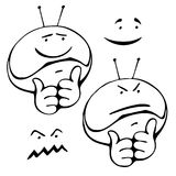 Smiley set different grimaces. Smiley set of hand drawing with different grimaces. Head with antennas helmet astronaut. Good and evil stock illustration