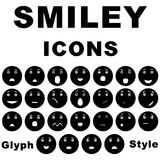 Smiley set icons. Smiley set icon, style of glue on white background stock illustration