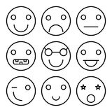 Smiley set icons. Linear style on a white background stock illustration