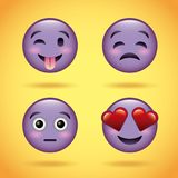 Smiley set purple face with emotions facial expression funny cartoon character Royalty Free Stock Photos