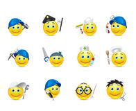 Smiley set of s, distributed in occupations Stock Images