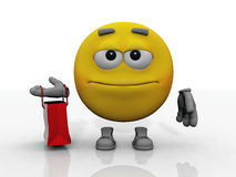 Smiley and shopping. The yellow smiley makes shopping Royalty Free Stock Images