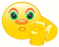 Smiley shows fig. Round smiley shows gesture a finger fig Stock Photo