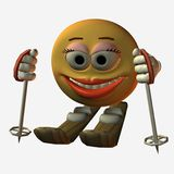 Smiley-Skiing. 3D Render Stock Photography