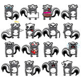Smiley skunks. Individually grouped for easy copy-n-paste Royalty Free Stock Images