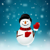 Smiley snowman with mittens Stock Image