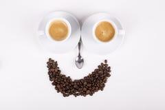 Smiley som göras från koppar kaffe Royaltyfri Bild