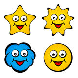 Smiley sonriente de la nube del sol de la estrella de la cara de la historieta Foto de archivo